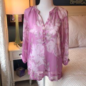 Small sheer pink floral 3/4 sleeve blouse shirt